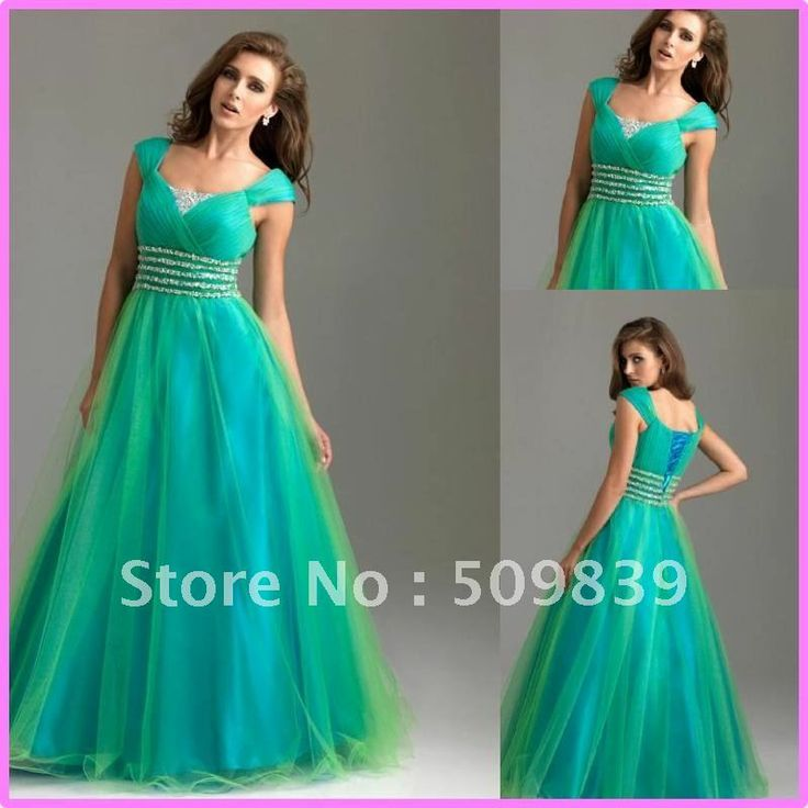 Free shipping Custom made 2012 A-Line Cap Sleeve Floor length Sequined Satin Tulle Green Plus Size Modest Fashion Prom Gown