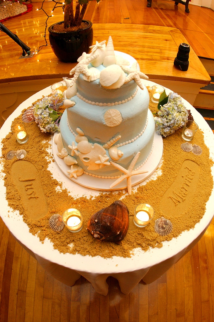 """Spread brown sugar around the cake to make it look like sand.  I made the foot prints with the """"just married"""" sandals.  Fun for a beach themed cake!  Get married in Oceanside, San Diego, California! http://www.visitoceanside.org/weddings/"""
