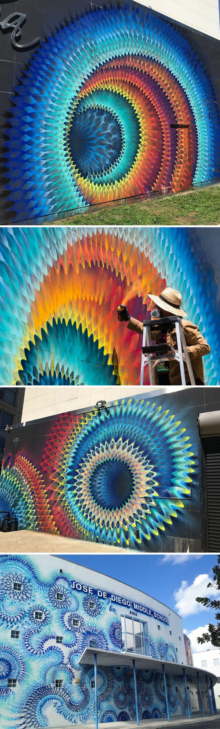 Rippled Portals of Color Created with Spray