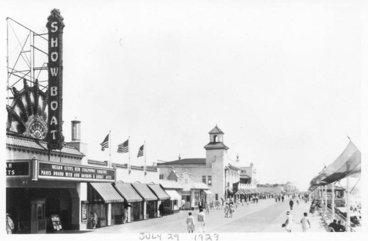 Ocean City NJ boardwalk, 1929.  The Showboat is now the Surf Mall.