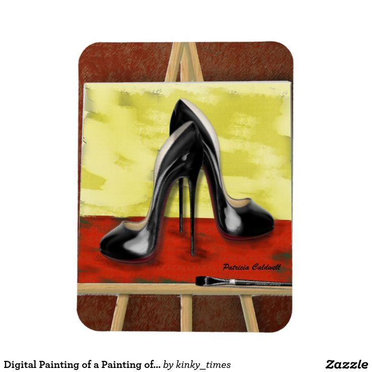 Digital Painting of a Painting of Black Stiletto's Rectangular Photo Magnet