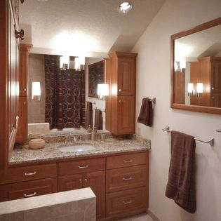 Interesting Use Of Upper Cabinets Next To Sink   Master Bath Remodel   Houzz .com