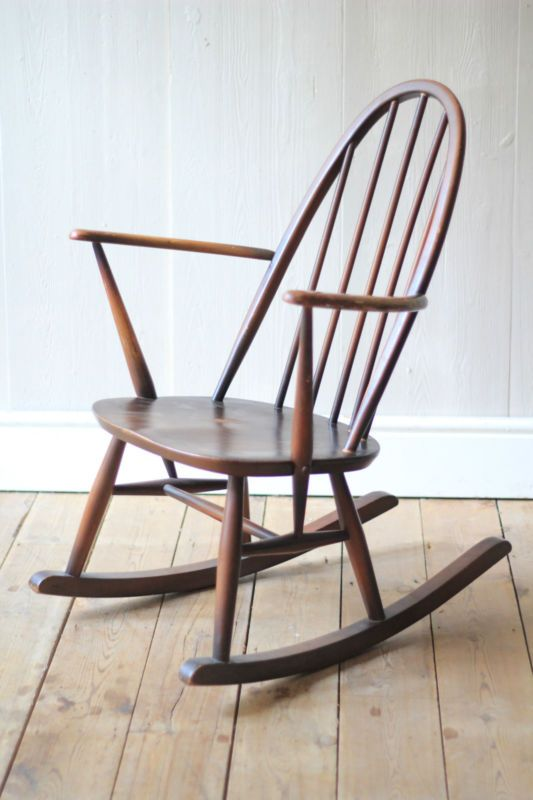 Ercol Rocking Chair This is a lovely ercol rocking chair it is in good used vintage condition and would look great in a variety of places around your home I love these chairs and really like that they were produced up the road in High Wycombe, just outside London. As with any vintage item this chair does have signs of wear and tear from use including,scuffs ,watermarks ,scratches and general wear. The arms look to have been re varnished at somepoint. Overall good solid condition though…