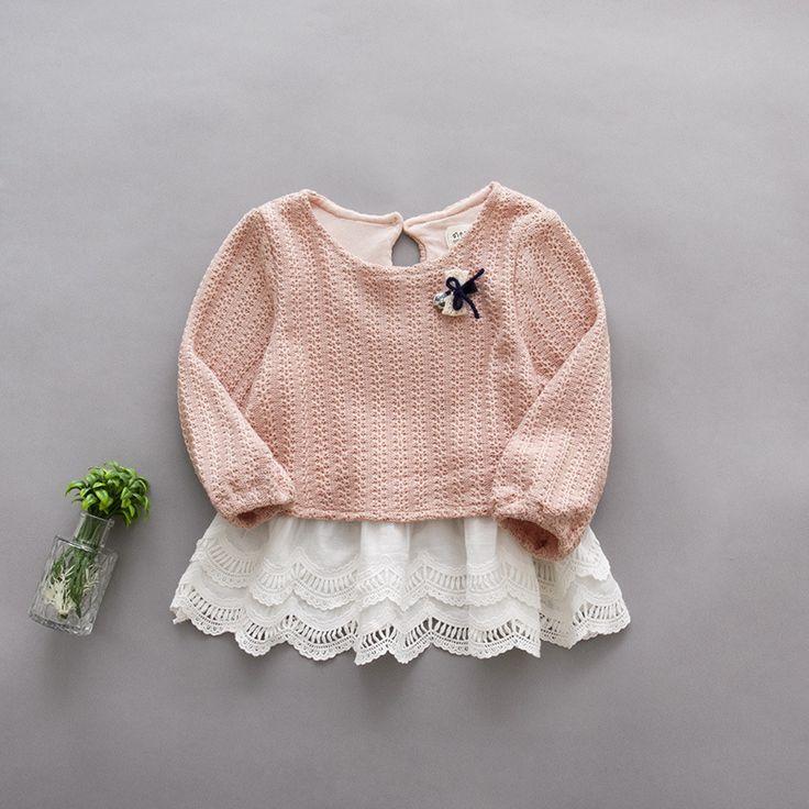 2016 nueva primavera otoño suéteres niño de la muchacha del remiendo del cordón ropa infantil Niñas Vestido de punto de Manga Larga Vestido de Las Muchachas recién nacido(China (Mainland))