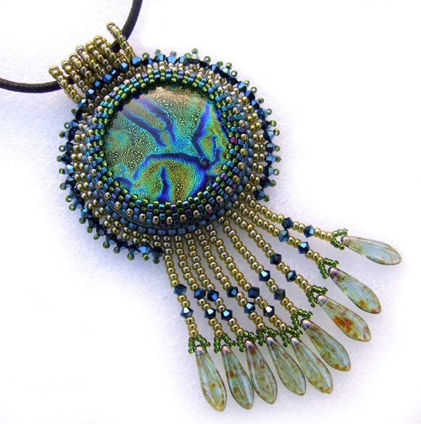 Great tutorial on bead embroidered cabochon glue bikonusy