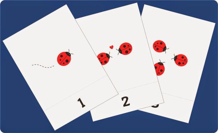 belajar berhitung angka 1-10 untuk paud (balita/TK), flash card gratis bergambar kepik