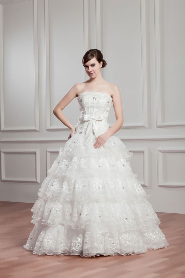 ball gown lace-up and sleeveless beaded bowknot organza wedding dress - Whoboxdress.com $262
