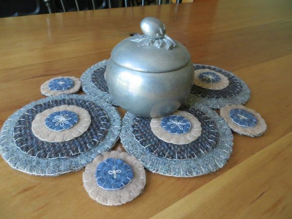Blue Primitive Penny Rug or Penny Mat Wool Penny Rug by FolkHome