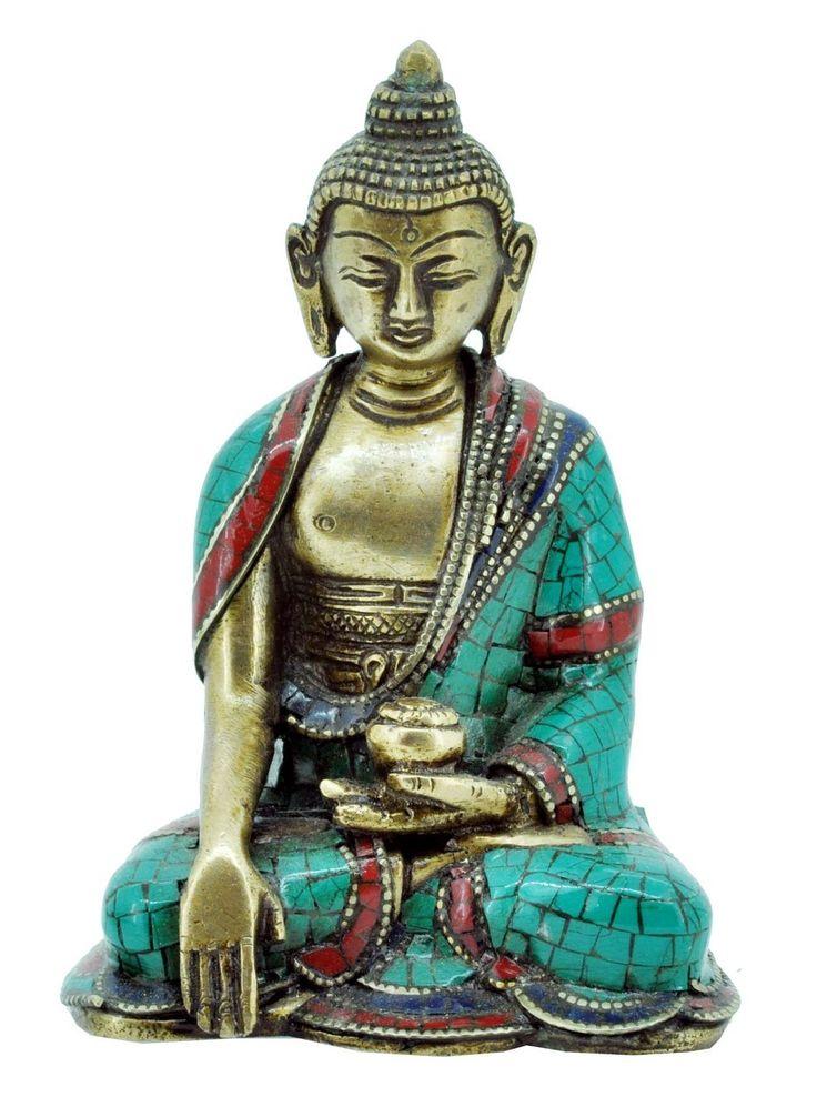 Hinky Imports - Shakyamuni Buddha Statue, Brass with Turquoise, Handmade in Nepal, $169.00 (http://www.hinkyimport.com/shakyamuni-buddha-statue-brass-with-turquoise-handmade-in-nepal/)