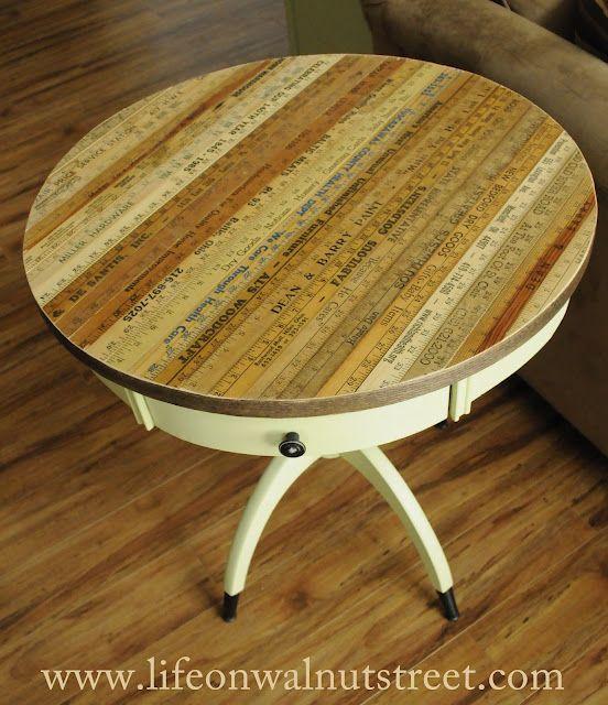 Vintage yardsticks used to restore table top