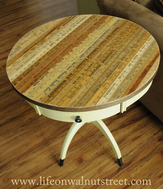 Wow what a fun table top. I have to try thisDecor, Weekend Projects, Side Tables, Diy Crafts, Drums Tables, Tables Tops, Furniture, Yardstick Tables, Yards Sticks