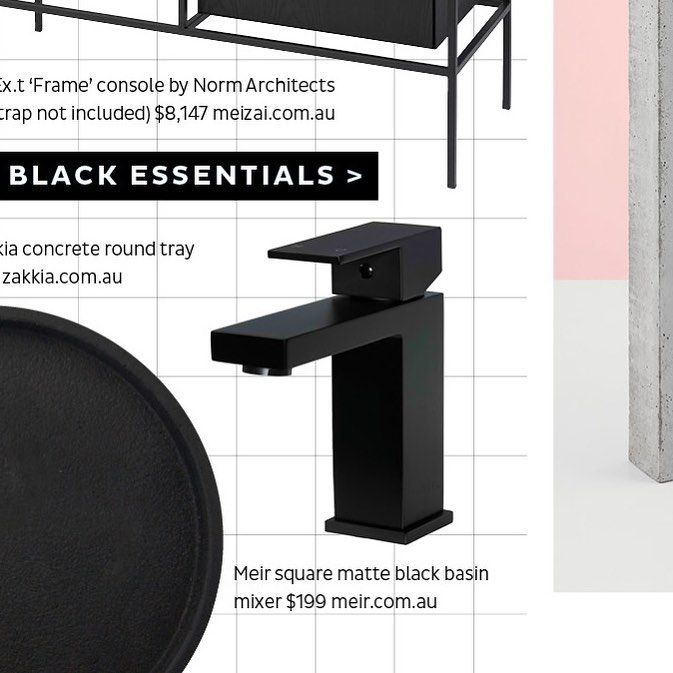 #MeirBlack in the press - honoured to be featured within the Black Essentials spread in the recent Spring edition of @adoremagazine . #Meir #MeirAustralia #Press #AdoreMagazine #Feature #MatteBlack #BasinMixer #MB01