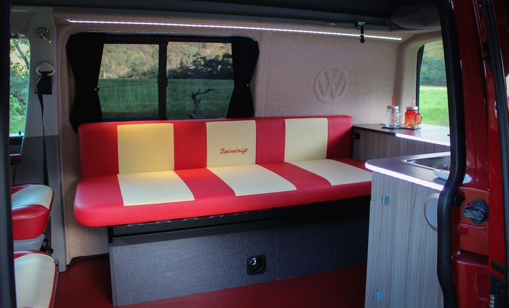 Bespoke bed with spindrift upholstery in cherry red & yellow