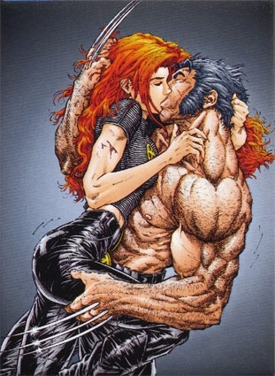 What happens in another dimension... Jean Grey and Wolverine kissing