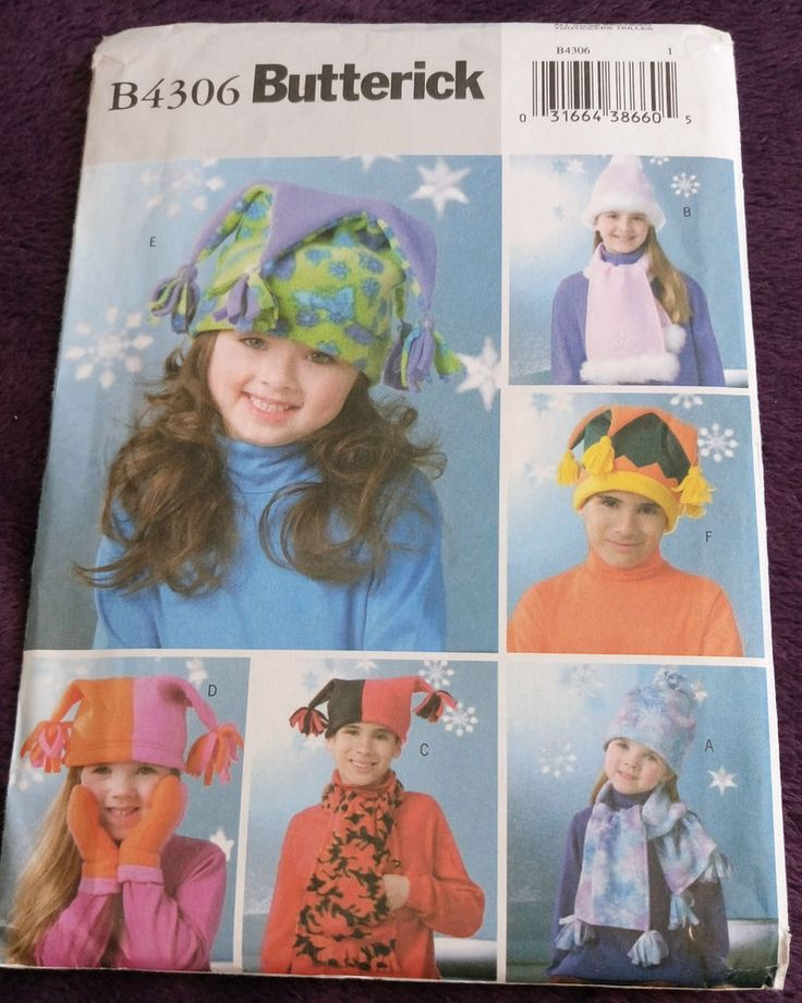 Butterick B4306 Fleece HATS MITTS & SCARF Boy/Girl multi-fit #Butterick
