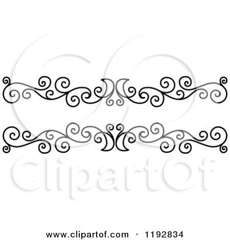 Clipart Of A Black And White Ornate Swirl Border Design Element 2