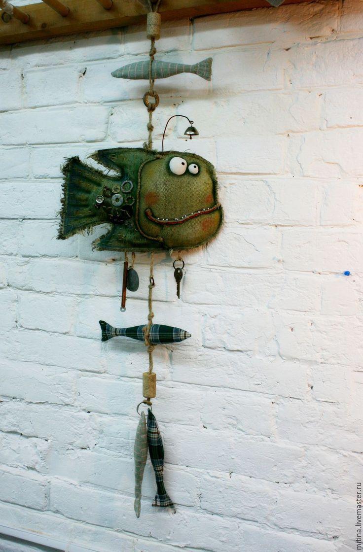 Купить Интерьерная подвеска Рыбы - хаки, брезент, ржавый металл, рыбы, подвески, авторская работа