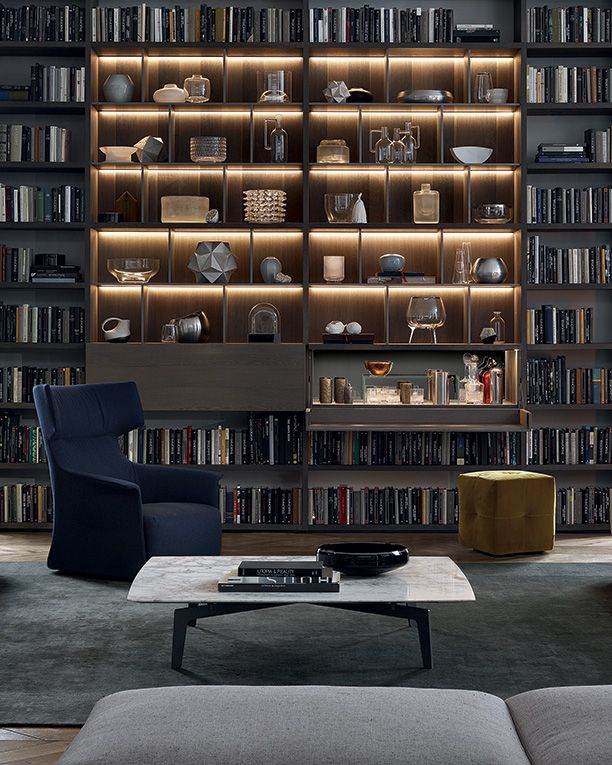 """Wall System in cenere oak, inner grids th. 1/2"""" mat lacquered piombo and built-in led lamps."""