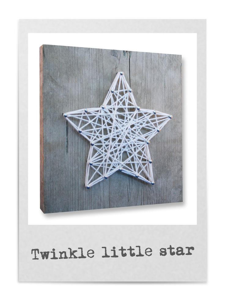 String-art DIY christmas package including wood panel (20x20cm), nails, string and a pattern in shape of a star, heart, tree, angel and moose. For each box you can choose which pattern, what color string and what type of nails you like. Now available in our web shop!