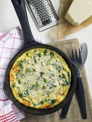 Omelette aux épinards et mozzarella : Recette d'Omelette aux épinards et mozzarella - Marmiton