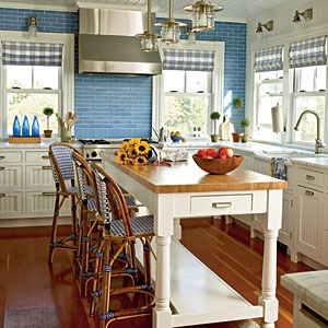 50 Colorful, Cozy Spaces | Sunny Delight | CoastalLiving.com: Cottages Kitchens, Kitchens Design, Blue Wall, Blue Tile, Subway Tile, Cottages Rooms, Coastal Living, Country Kitchens, White Kitchens