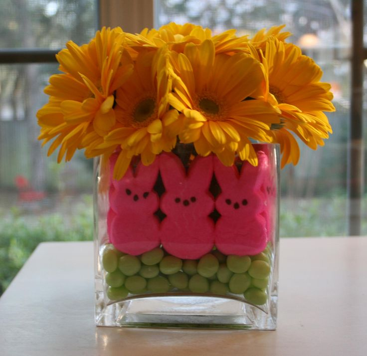 Easter Fun! DIY Center piece - Flowers and Peeps - how can you go wrong!