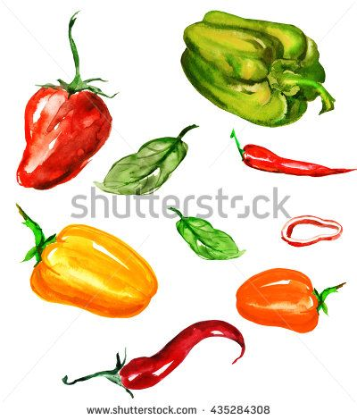 Set of watercolor vegetables - peppers, sweet peppers, hot peppers, chili peppers, red, yellow, green, leaf. On an isolated white background. Apply in design and decoration