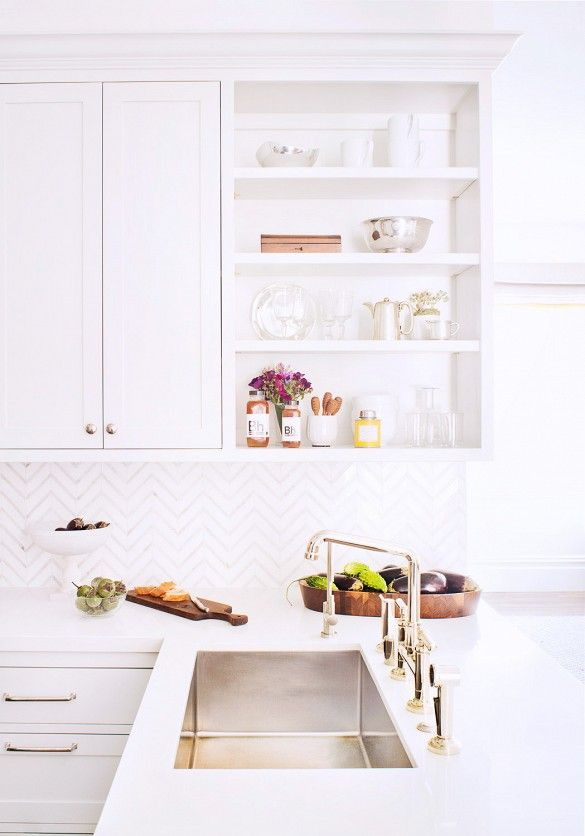 White Transitional Kitchen and a Chrome Faucet // Designer Crush: Alison Davin