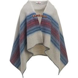 Woolrich's Wool Ponchos represent a contemporary evolution of their classic blanket line. Using their wool blankets as a starting point, they created two distinctive poncho styles: the Fireside II Poncho, with a genuine leather buckle closure, and the jacquard-weave Forest Ridge Poncho, with its open-front, shawl styling. Both offer the warmth of a blanket with the convenience of a wear-anywhere poncho.  Features: • Selvage Edge with Leather Buckle; Bottom Edge Double Needle Hem Short End...