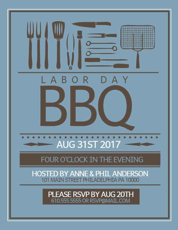 labor day bbq poster social media post design template holiday