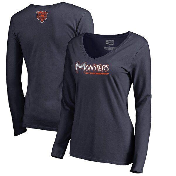 Chicago Bears Nfl Pro Line By Fanatics Branded Women S Monsters Long Sleeve V Neck T Shirt Nav Long Sleeve Long Sleeve Tshirt Men Georgia Tech Yellow Jackets