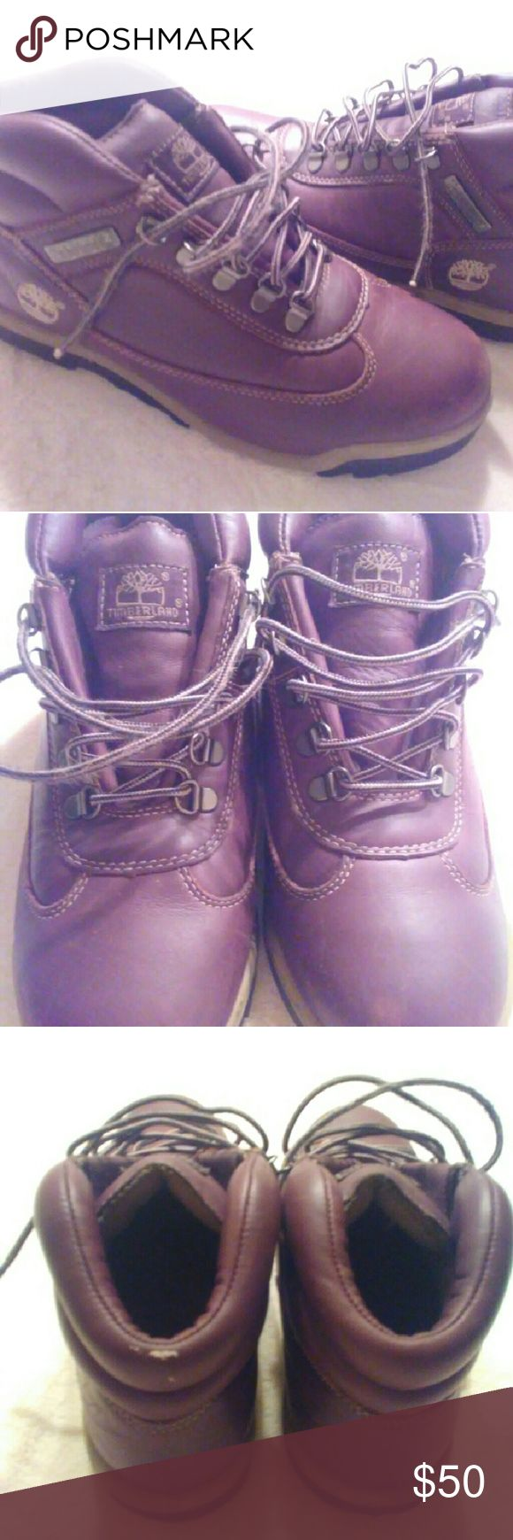 Junior's Timberland Boots Brown leather boots. Junior's 7.5 good condition just shoe laces are frizzed in certain areas as shown in pictures Timberland Shoes Boots