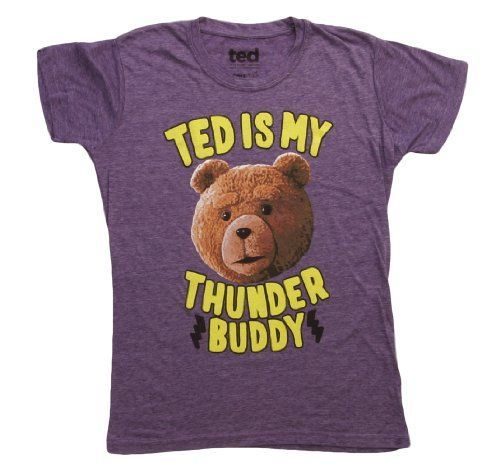 Ted T-shirt Juniors Movie Ted is My Thunder Buddy Purple Heather Shirt Large