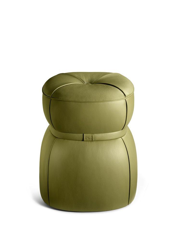 LEPLI Leather stool THE COLLECTION - Sofa and Armchairs Collection by Poltrona Frau design Kensaku Oshiro