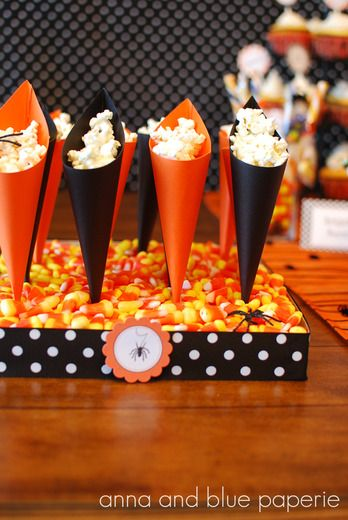 Popcorn and candy corn make a great combo.