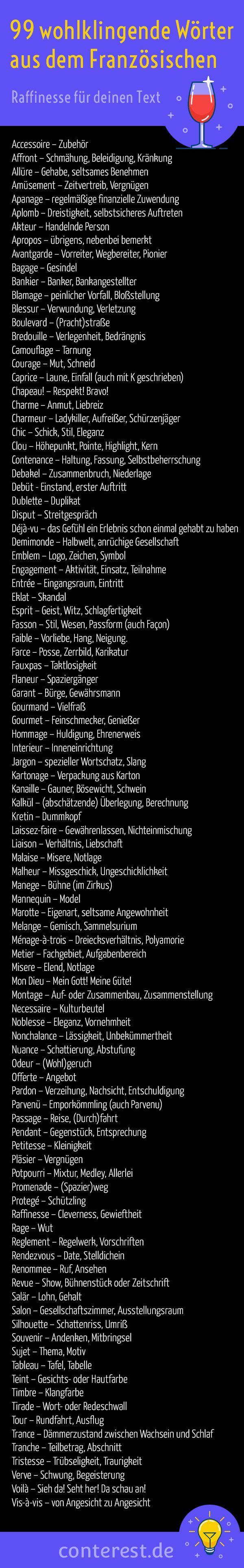 99 wohlklingende Französische Wörter im Deutschen – Mehr Raffinesse für deinen Text