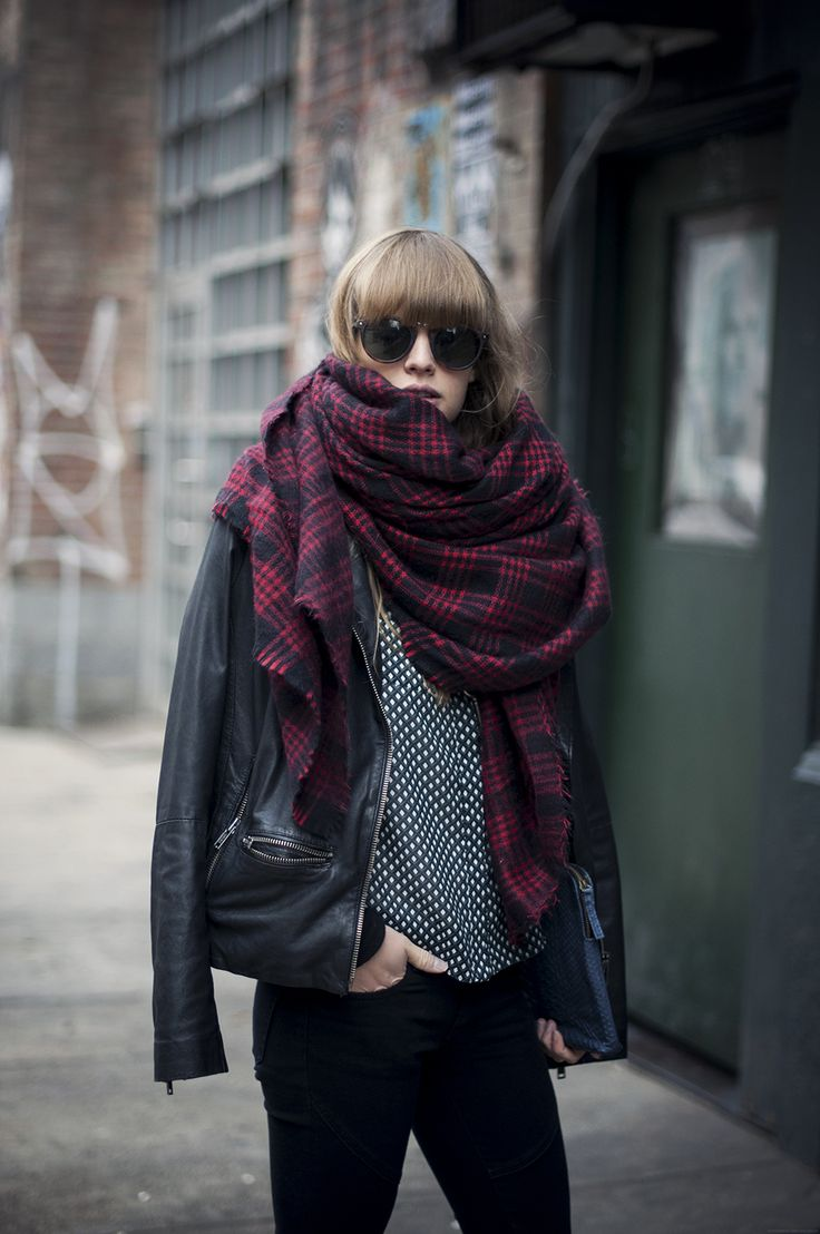 Plaid + leather: