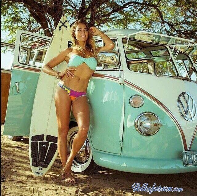 Don't you just hate it when a surfer girl gets in the way of a photo of a beautiful VW!
