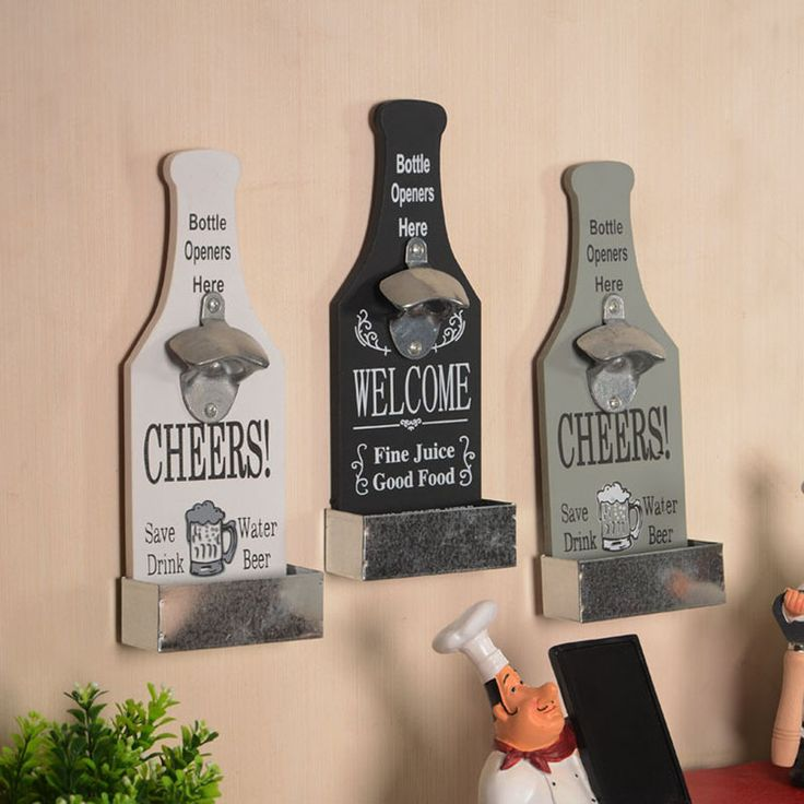 American Country Creative Retro Beer Shaped Wall Bottle Opener Vintage Wall Mounted Wood Plaque Bottle Openers Cap Catcher