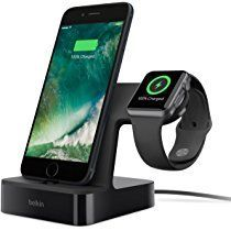 Belkin PowerHouse Dual Apple Watch & iPhone Charger Stand with 1.2 m Charging Cable, for Apple Watch Series 1, 2 and Series 3, iPhone 6/6 Plus/6s/7/7 Plus/8/8Plus/X, MFi Certified - Black