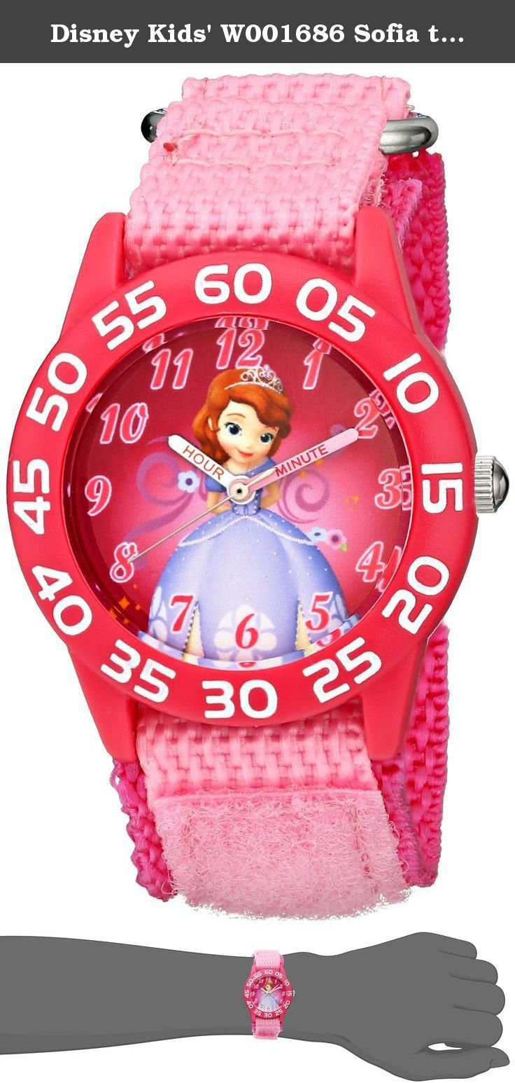 Disney Kids' W001686 Sofia the First Time Teacher Watch with Pink Nylon Band. Round Time Teacher Plastic Watch with Disney's Sofia the First character on dial. Meets or exceeds all US Govt requirements and regulations for Children's watches. Recommended for Ages 3-7 years old. Includes a Time Teacher Punch Out clock for Parents to Teach their Children. Accurate Japanese Quartz movement, scratch resistant mineral crystal, hook and loop Nylon strap. Water Resistant to 99 feet: withstands…