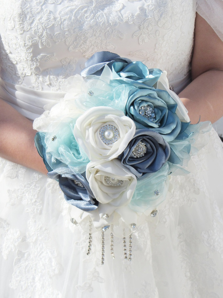 Fabric Flower Bouquet, Cascading Brooch Bouquet,  Brooch Bouquet, Fabric flower bouquet, Blue Bouquet. $165.00, via Etsy.