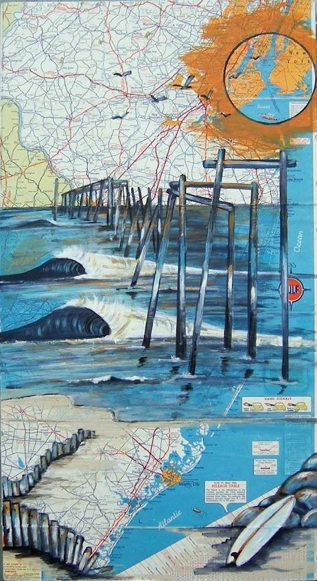 Map Art Surf Art The old 59th Street Pier talulalovebottoms.net #mapart #surfart