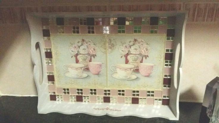 Tea tray using decoupaged napkins onto glass tiles