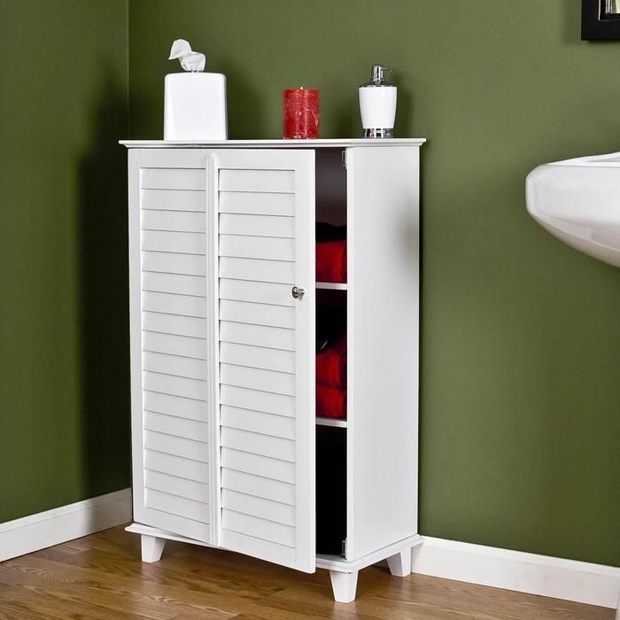 Gallery For Photographers Nassau Louvered Storage Cabinet White W x