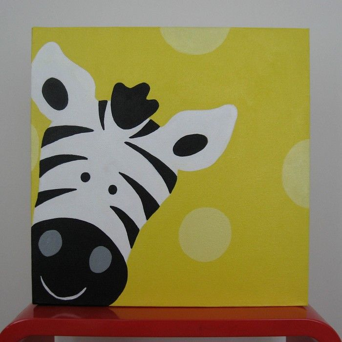 Jungle Safari Zebra Canvas Painting Yellow - by ToyCrazy on madeit