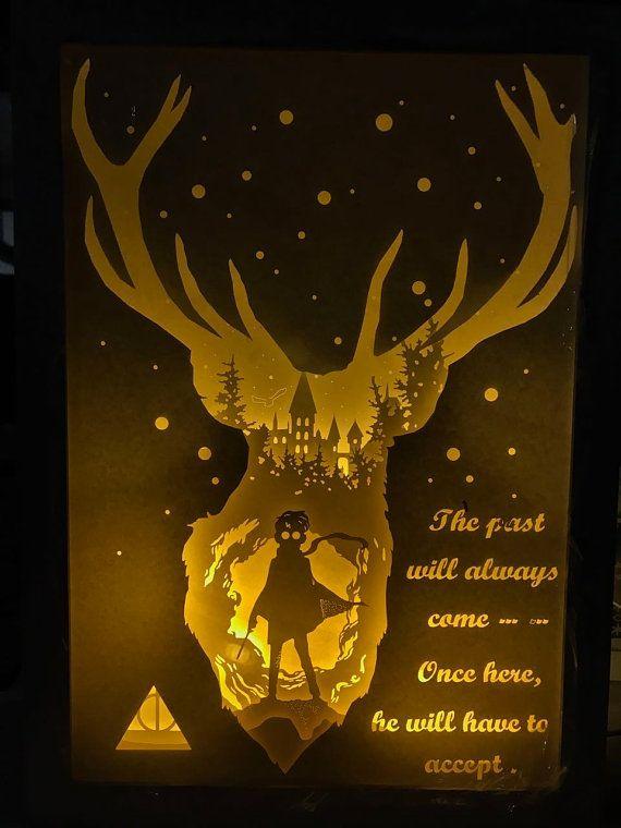Harry potter carta tagliata scatola luminosa notte di trysogodar