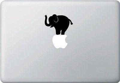 "Elephant Black Vinyl Decal Sticker 11"" 13'' 15"" Apple Laptop Macbook, Pro + Air in Computers/Tablets & Networking,Laptop & Desktop Accessories,Case Mods, Stickers & Decals | eBay"
