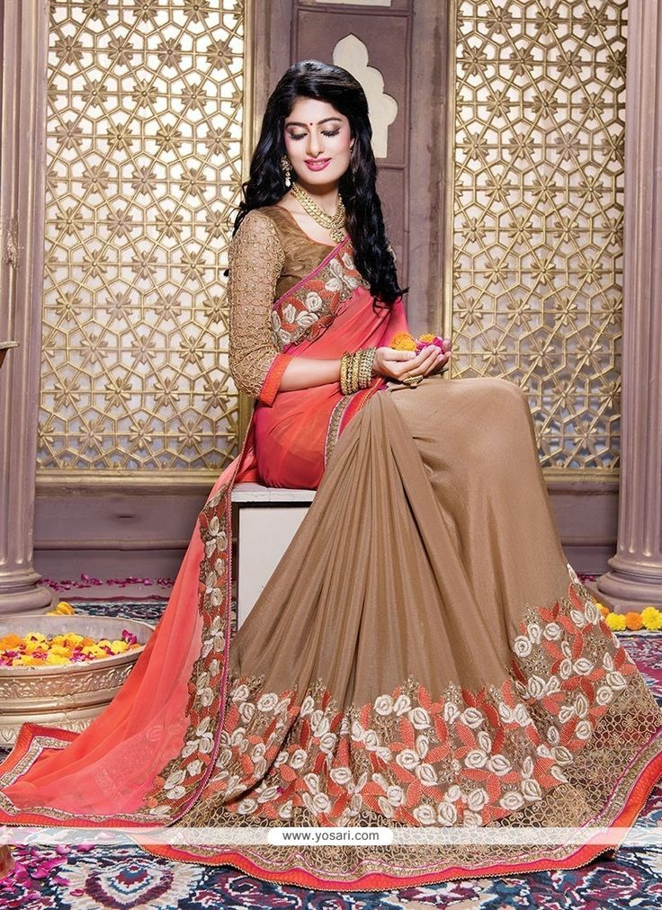 Glitzy Brown Embroidered Work Faux Crepe Traditional  Saree Model: YOSAR7380