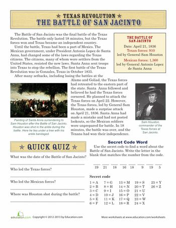 Worksheets: The Battle of San Jacinto